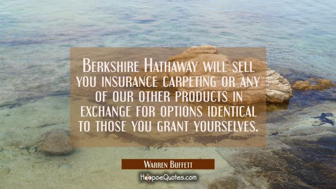 Berkshire Hathaway will sell you insurance carpeting or any of our other products in exchange for o