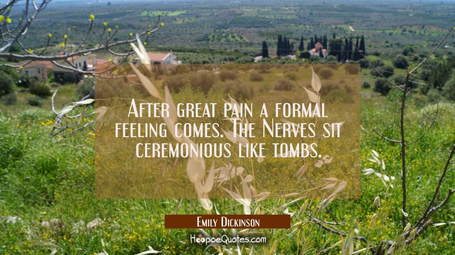 After great pain a formal feeling comes. The Nerves sit ceremonious like tombs. Emily Dickinson Quotes