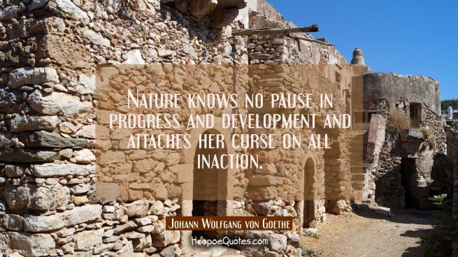Nature knows no pause in progress and development and attaches her curse on all inaction.