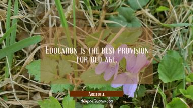 Education is the best provision for old age. Aristotle Quotes