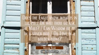 Does the Eagle know what is in the pit / Or wilt thou go ask the Mole? / Can Wisdom be put in a sil William Blake Quotes