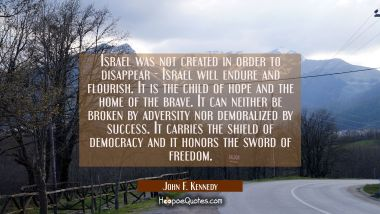 Israel was not created in order to disappear - Israel will endure and flourish. It is the child of John F. Kennedy Quotes