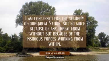 I am concerned for the security of our great Nation, not so much because of any threat from without
