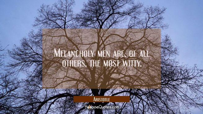 Melancholy men are of all others the most witty.