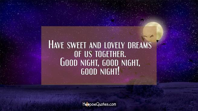 Have sweet and lovely dreams of us together. Good night, good night, good night!