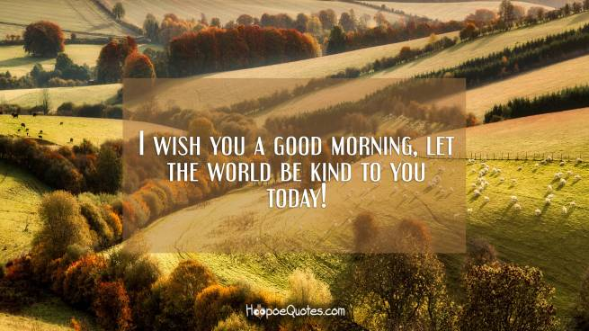 I wish you a good morning, let the world be kind to you today!