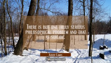 There is but one truly serious philosophical problem and that is suicide.