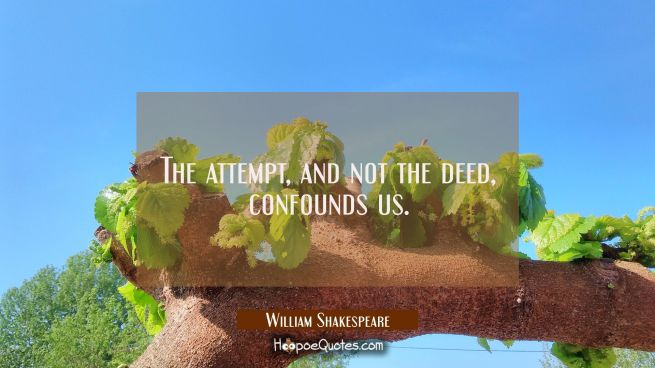 The attempt and not the deed confounds us.