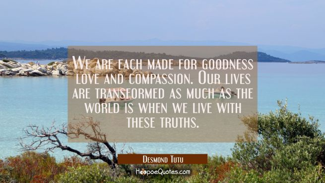 We are each made for goodness love and compassion. Our lives are transformed as much as the world i