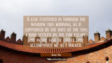 A leaf fluttered in through the window this morning as if supported by the rays of the sun a bird s
