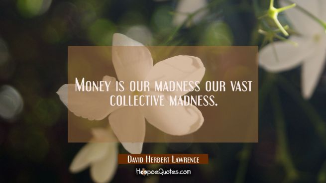Money is our madness our vast collective madness.