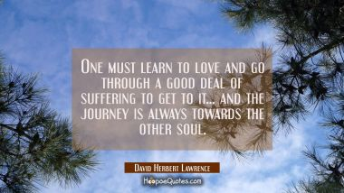 One must learn to love and go through a good deal of suffering to get to it... and the journey is a