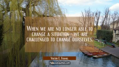 When we are no longer able to change a situation - we are challenged to change ourselves. Viktor E. Frankl Quotes