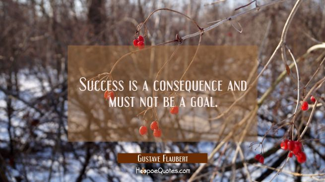 Success is a consequence and must not be a goal.