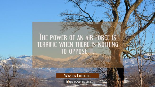 The power of an air force is terrific when there is nothing to oppose it.