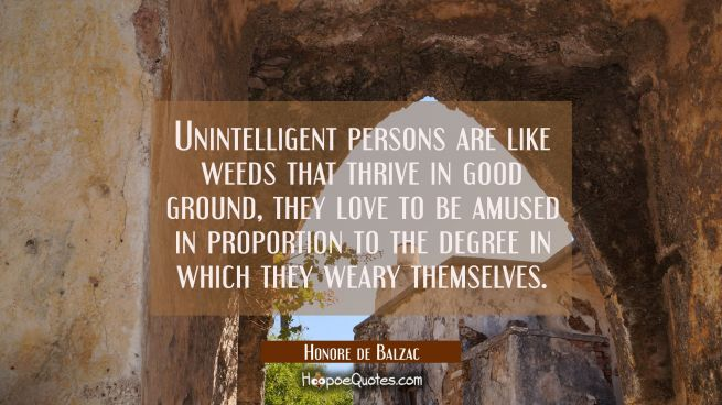 Unintelligent persons are like weeds that thrive in good ground, they love to be amused in proporti