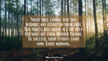 Night will change into day without any effort on your part. But that's just about all the help you will get from Mother Nature. To succeed, your efforts start now. Good morning. Good Morning Quotes