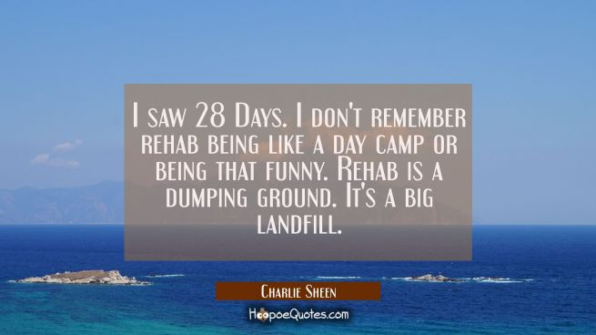 I saw 28 Days. I don't remember rehab being like a day camp or being that funny. Rehab is a dumping