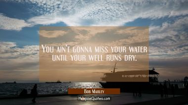 You ain't gonna miss your water until your well runs dry. Bob Marley Quotes