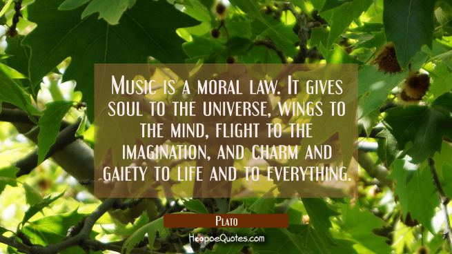 Music is a moral law. It gives soul to the universe wings to the mind flight to the imagination and