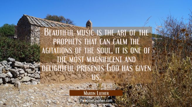 Beautiful music is the art of the prophets that can calm the agitations of the soul, it is one of t