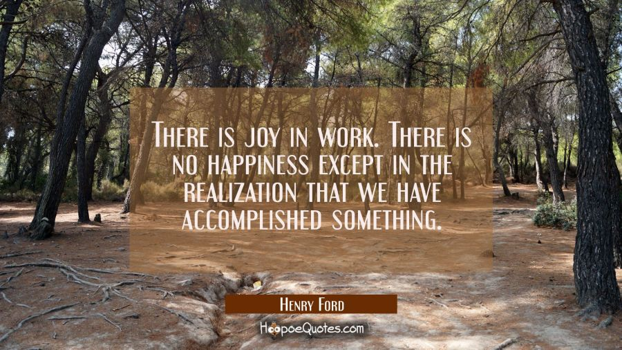 There is joy in work. There is no happiness except in the realization that we have accomplished som Henry Ford Quotes