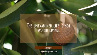 The unexamined life is not worth living.