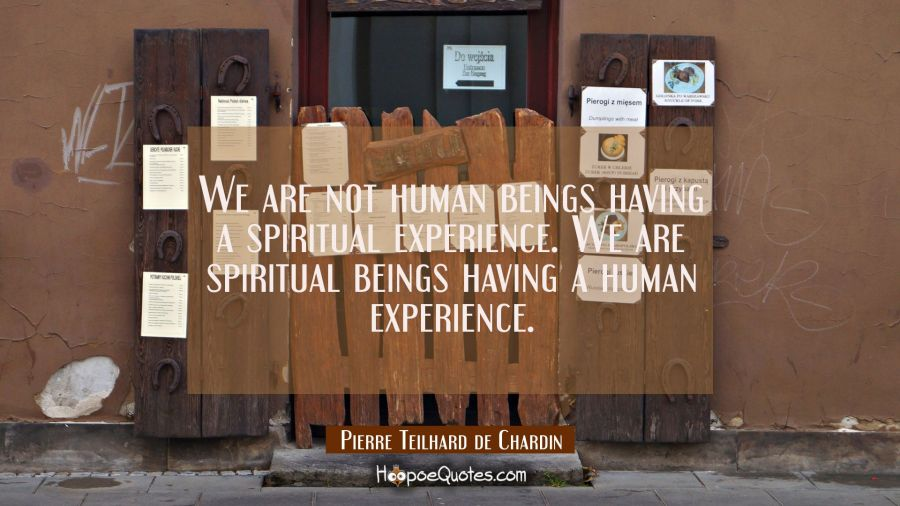 We are not human beings having a spiritual experience. We are spiritual beings having a human exper Pierre Teilhard de Chardin Quotes
