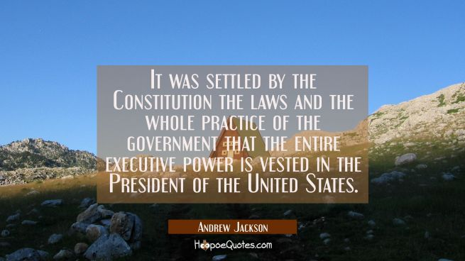 It was settled by the Constitution the laws and the whole practice of the government that the entir