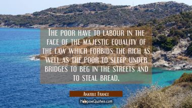 The poor have to labour in the face of the majestic equality of the law which forbids the rich as w