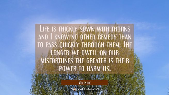 Life is thickly sown with thorns and I know no other remedy than to pass quickly through them. The
