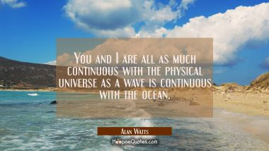 You and I are all as much continuous with the physical universe as a wave is continuous with the oc