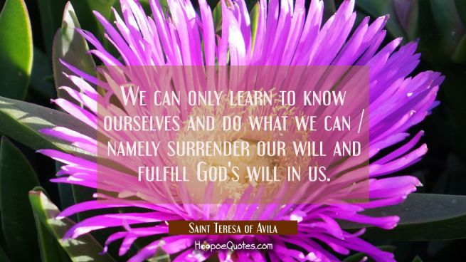 We can only learn to know ourselves and do what we can / namely surrender our will and fulfill God'