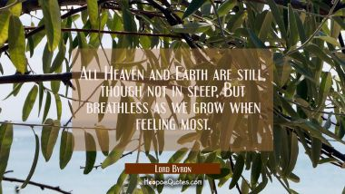 All Heaven and Earth are still though not in sleep But breathless as we grow when feeling most Lord Byron Quotes
