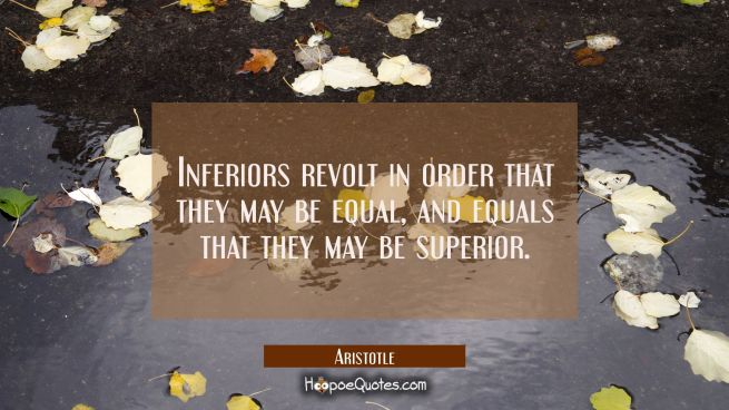 Inferiors revolt in order that they may be equal and equals that they may be superior