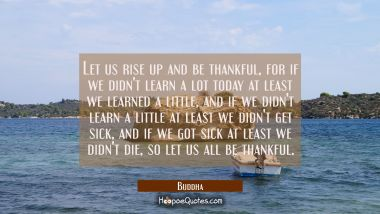 Let us rise up and be thankful for if we didn't learn a lot today at least we learned a little and Buddha Quotes