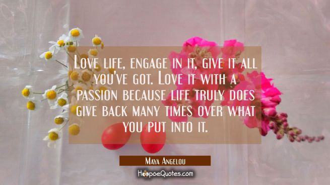 love life engage in it give it all you've got. love it with a passion because life truly does give