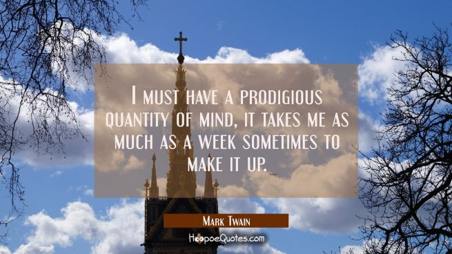 I must have a prodigious quantity of mind, it takes me as much as a week sometimes to make it up.