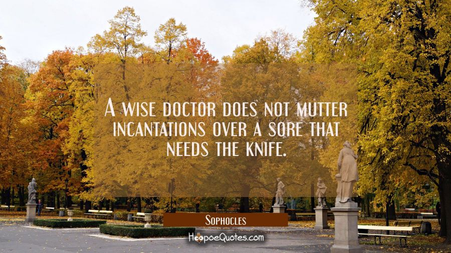 A wise doctor does not mutter incantations over a sore that needs the knife. Sophocles Quotes