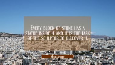Every block of stone has a statue inside it and it is the task of the sculptor to discover it.