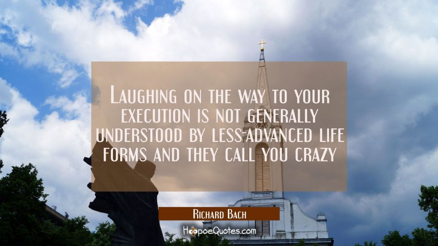 Laughing on the way to your execution is not generally understood by less-advanced life forms and t Richard Bach Quotes