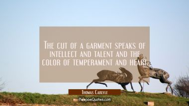 The cut of a garment speaks of intellect and talent and the color of temperament and heart.