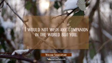 I would not wish any companion in the world but you William Shakespeare Quotes