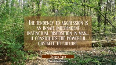The tendency to aggression is an innate independent instinctual disposition in man... it constitute Sigmund Freud Quotes