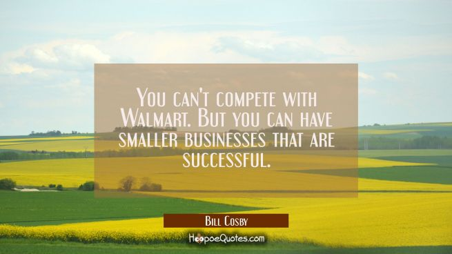 You can't compete with Walmart. But you can have smaller businesses that are successful.