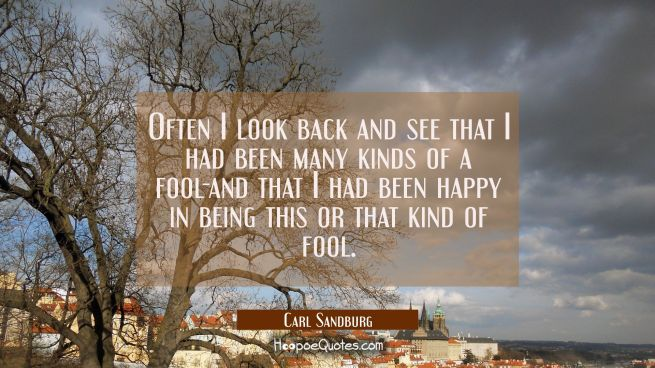 Often I look back and see that I had been many kinds of a fool-and that I had been happy in being t