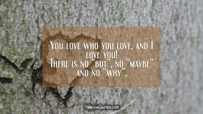 "You love who you love, and I love you! There is no ""but"", no ""maybe"" and no ""why""."