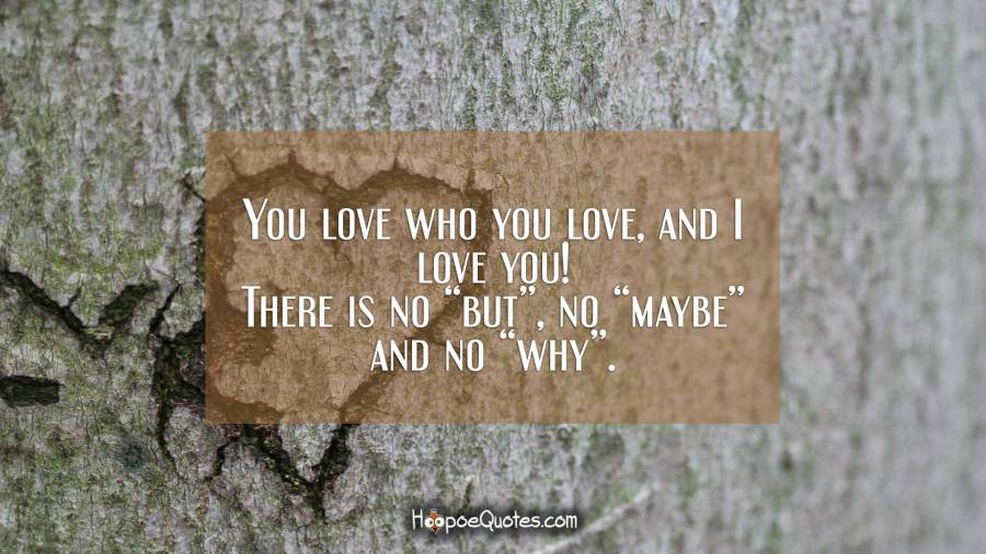 "You love who you love, and I love you! There is no ""but"", no ""maybe"" and no ""why"". I Love You Quotes"