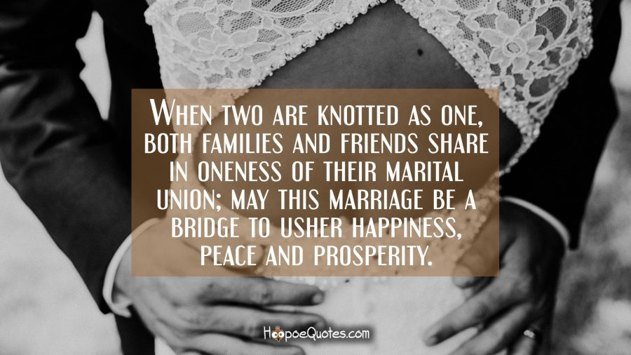 when two are knotted as one both families and friends share in