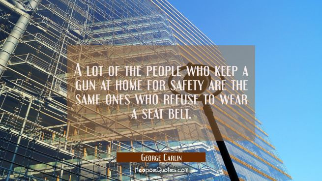 A lot of the people who keep a gun at home for safety are the same ones who refuse to wear a seat b